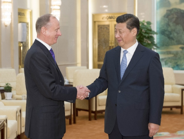Chinese President Xi Jinping (R) meets with Russian Security Council Secretary Nikolai Patrushev in Beijing, China, June 6, 2014 [Xinhua]