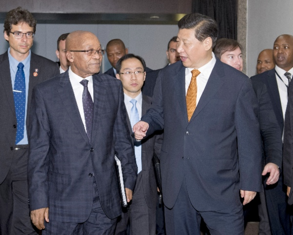 Chinese President Xi Jinping (R, front) meets with South African President Jacob Zuma (L, front) in Fortaleza, Brazil, July 14, 2014 [Xinhua]