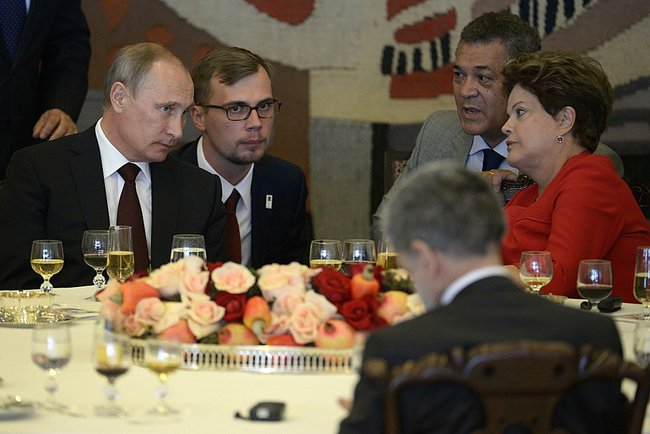 Putin at an official breakfast hosted by Brazilian President Dilma Rousseff on 14 July 2014 [PPIO]