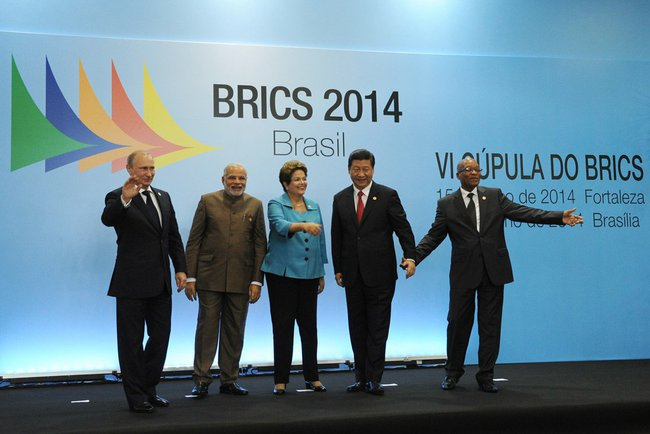 Russian President Vladimir Putin, Prime Minister of India Narendra Modi, President of Brazil Dilma Rousseff, President of China Xi Jinping and President of South Africa Jacob Zuma at the 6th BRICS Summit in Brazil on 15 July 2014 [AP]