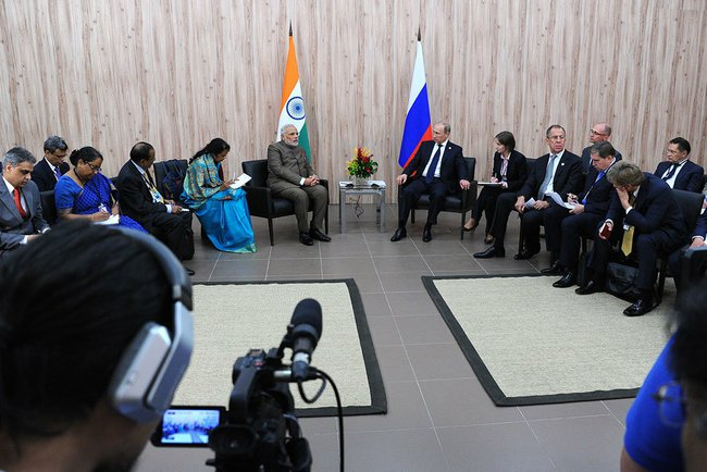 Putin at a meeting with Prime Minister of India Narendra Modi in Fortaleza, Brazil on 16 July 2014 [PPIO]