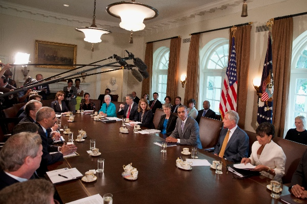 President Barack Obama speaks to the media while meeting with his cabinet members in the Cabinet Room of the White House in Washington, Tuesday, July 1, 2014 [AP]