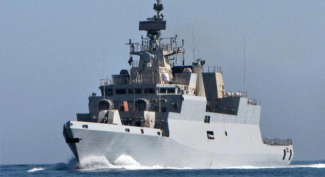 The warship, which is first in a series of four planned corvettes, can carry short-range missiles and an integral anti- submarine warfare helicopter [Image: defencenews.in]
