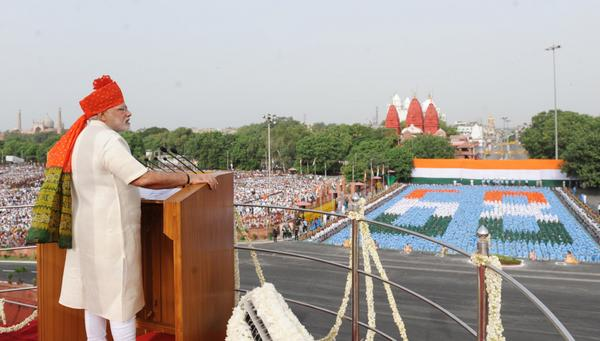 Indian Prime Minister Narendra Modi addressing the country from the ramparts of the Red Fort in Delhi on 15 August 2014 [mea.gov.in]