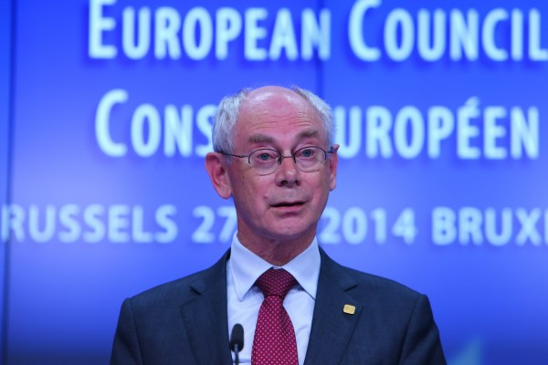 "EU Council President Herman van Rompuy had previously said the sanctions - which go into effect Friday - were designed to persuade Russia to remove itself as a ""destablizing"" factor in eastern Ukraine [Xinhua]"