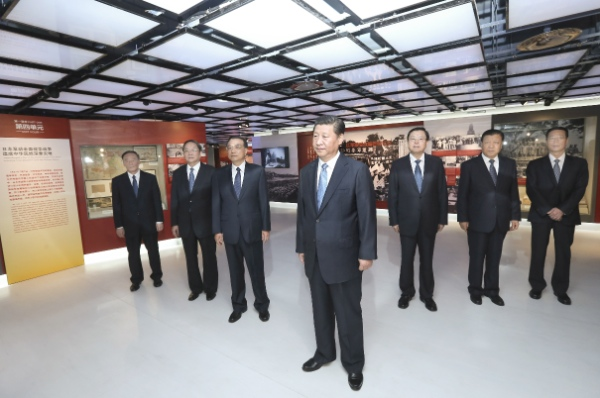China's top leaders Xi Jinping, Li Keqiang, Zhang Dejiang, Yu Zhengsheng, Liu Yunshan, Wang Qishan and Zhang Gaoli at the Anti-Japanese War at the Museum of the War of the Chinese People's Resistance Against Japanese Aggression in Beijing, capital of China, Sept. 3, 2014 [Xinhua]