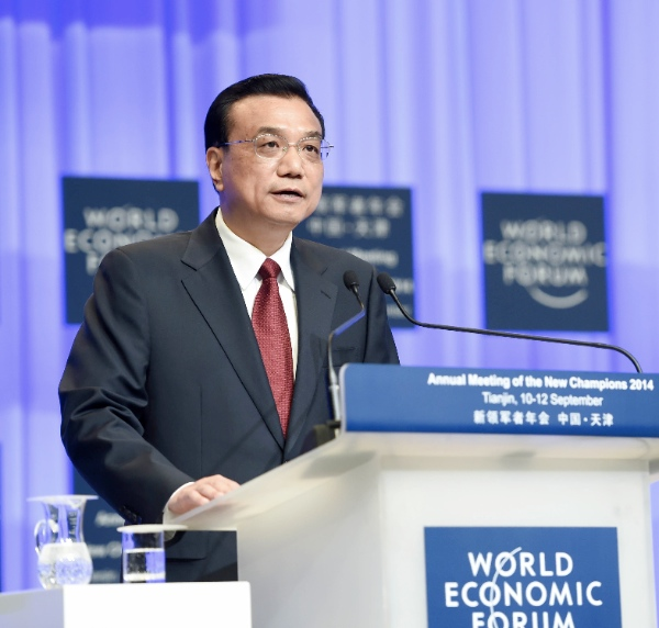 Chinese Premier Li Keqiang delivers a keynote speech at the opening of the Annual Meeting of the New Champions 2014, also known as the Summer Davos forum, in Tianjin Municipality, north China, Sept. 10, 2014 [Xinhua]