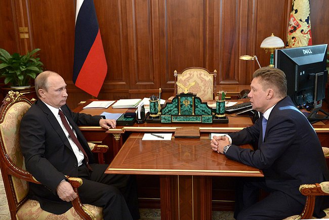 Putin with Gazprom CEO Alexei Miller on 17 September 2014 [PPIO]