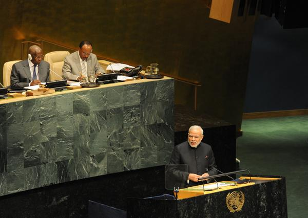 Indian Prime Minister Narendra Modi during his address at the UNGA in New York on 27 September 2014 [Image: UN]