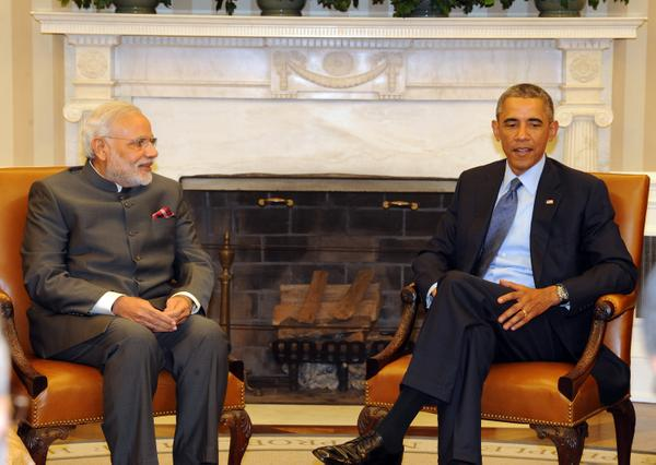 Indian Prime Minister Narendra Modi (left) meets US President Barack Obama in Washington DC on 30 September 2014 [MEA, India]