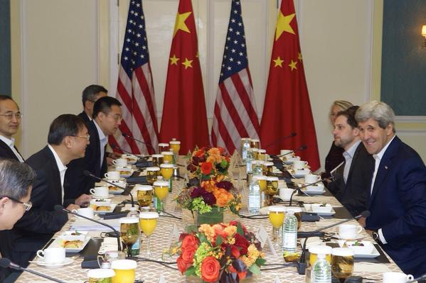 China's top diplomat and state councilor Yang Jiechi meets US Secretary of State John Kerry in Boston on 18 October 2014 [Image: US State Department]