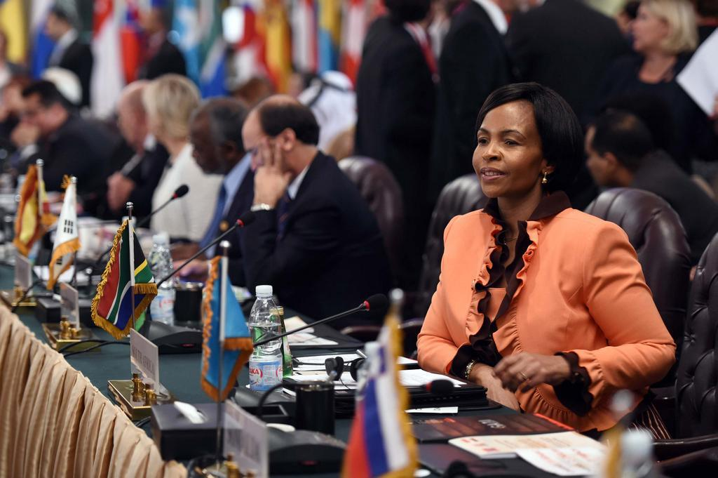 South African Foreign Minister Maite Nkoana-Mashabane leads the South African delegation at the Gaza donor conference in Cairo, Egypt on 12 September 2014 [GCIS]