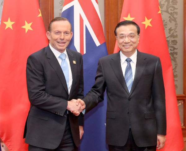 Chinese Premier Li Keqiang R Meets With Australian Prime Minister Tony Abbott At The