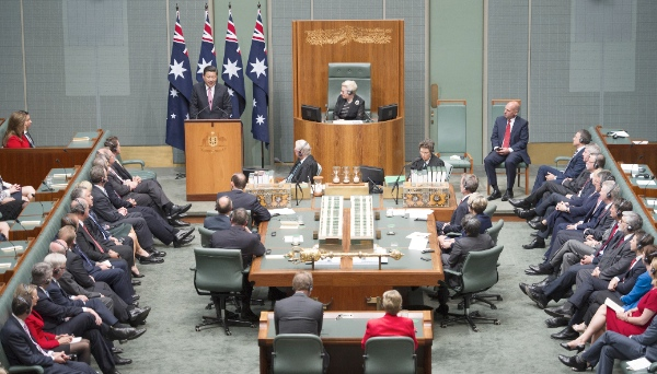 """""""Neither turbulence nor war serves the fundamental interests of the Chinese people,"""" Xi said in a speech to Australia's Parliament in Canberra on 17 November 2014 [Xinhua]"""