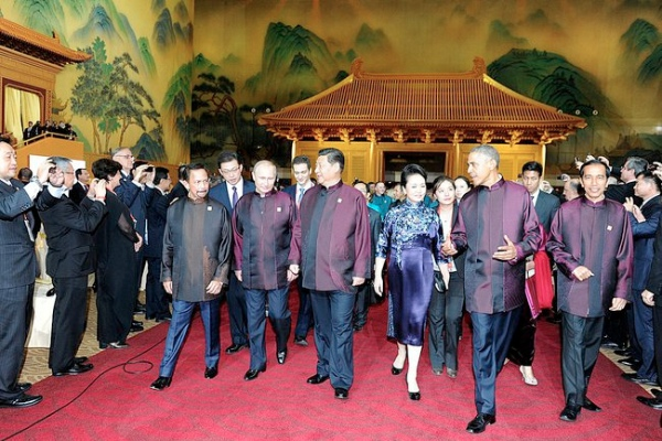 Russian President Vladimir Putin with his Chinese and US counterparts at the APEC Summit in Beijing on 10 November 2014 [PPIO]