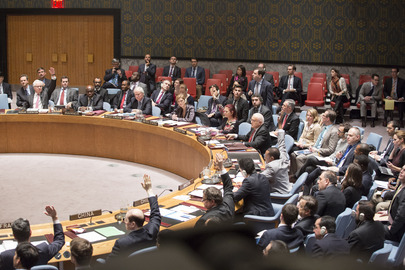 A view of the representatives of the Russian Federation, Argentina, Chad, Chile, China and France voting in favour of the draft resolution on 30 December 2014 [Image: UN]