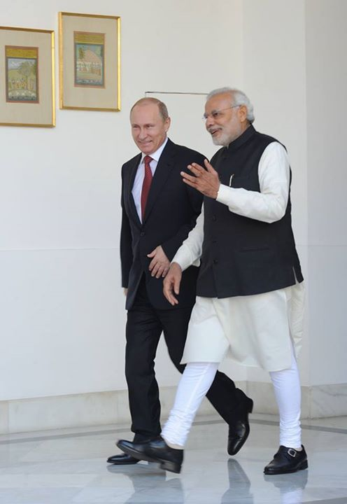 Indian Prime Minister Narendra Modi with Russian President Vladimir Putin in New Delhi on 11 December 2014 [PPIO]