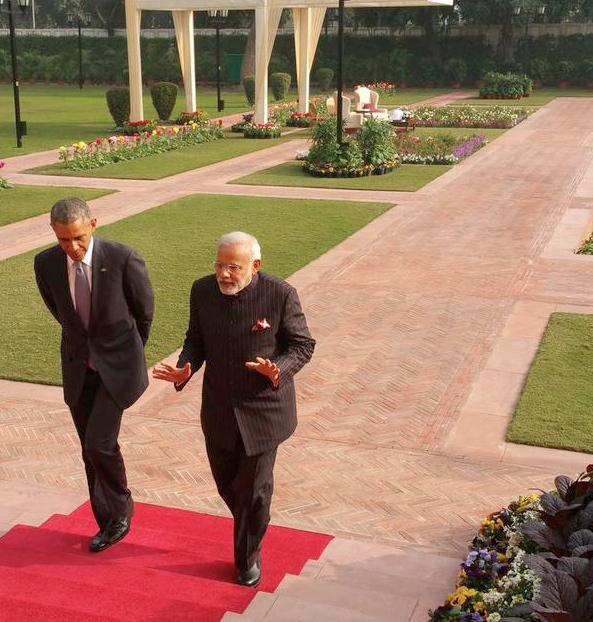 El presidente estadounidense Barack Obama con el primer ministro indio Narendra Modi en Nueva Delhi el 25 de enero 2015 [Image: MEA, India]