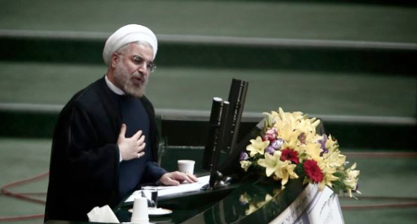 File photo of iranian President Hassan Rohani speaking before the Iranian parliament in Tehran [Xinhua]
