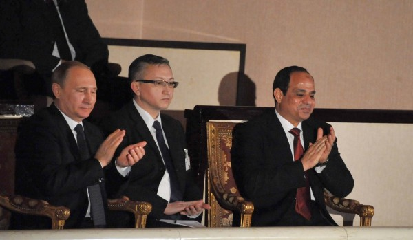 Putin, left, and El-Sisi, right, attended a performance celebrating 72 years of Egyptian-Russian ties in the Cairo Opera House on Monday [Xinhua]