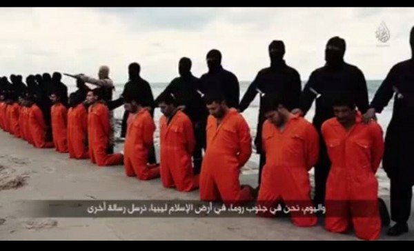 A screen capture of the video showing the 21 Egyptian Coptic Christians moments before they were beheaded [Xinhua]