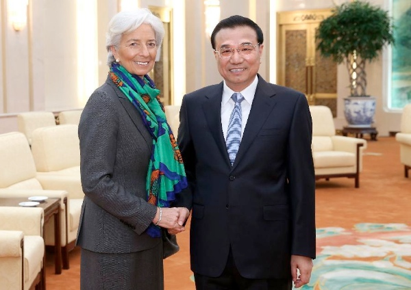Chinese Premier Li Keqiang (R) meets with Christine Lagarde, managing director of the International Monetary Fund (IMF), in Beijing, capital of China, March 23, 2015 [Xinhua]