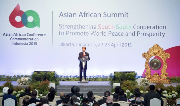 Indonesian President Joko Widodo addresses the opening of the Asian-African Summit in Jakarta, capital of Indonesia, on April 22, 2015 [Xinhua]