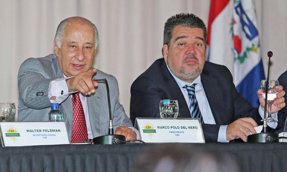 Brazil's football body, CBF, chief Marco Polo del Nero (right) left Zurich on the eve of FIFA's presidential election to return to Brazil [Image: CBF]