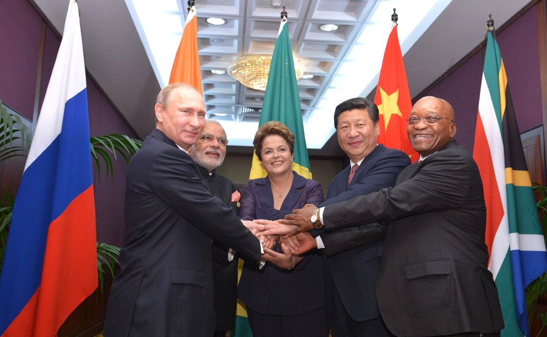 BRICS heads of state and government: Vladimir Putin, Prime Minister of India Narendra Modi, President of Brazil Dilma Rouseff, President of the People's Republic of China Xi Jinping and President of South Africa Jacob Zuma in Brisbane, Australia on 15 November 2014 [PPIO]