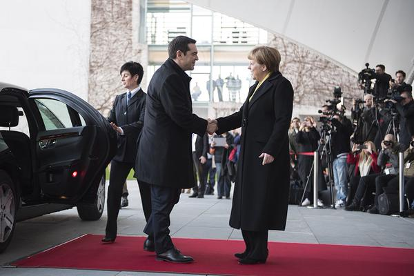 Greek Prime Minister Alexis Tsipras with German Chancellor Angela Merkel [Image: gov.gr