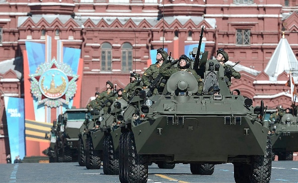 The Victory Day parade featured flyovers from military helicopters and jets, a march-past of 16,000 troops, and the procession of missile systems [PPIO]