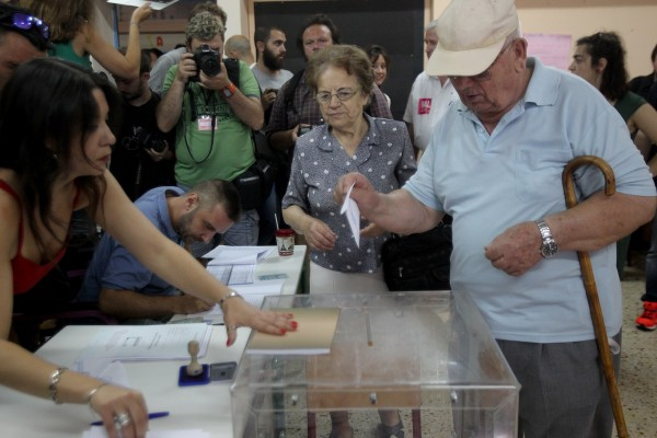 With 40 per cent of the vote counted, nearly 61 per cent of Greeks voted against the EU austerity and reform measures [Xinhua]