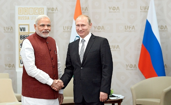 Indian Prime Minister Narendra Modi with Russian President Vladimir Putin in Ufa, Russia on 8 July 2015 [Image: brics2015.ru]