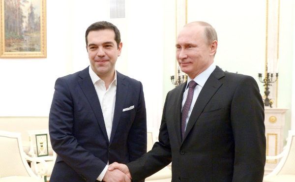 Russian President Vladimir Putin with Prime Minister of Greece Alexis Tsipras in Moscow, Russia on 8 April 2015 [PPIO]