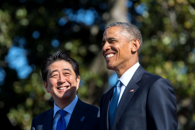 File photo of US President Barack Obama with Japanese Premier Shinzo Abe at the White House [Image: White House]