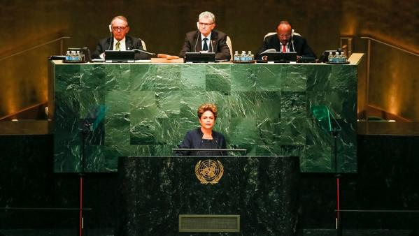 Brazilian President Dilma Rousseff at the UNGA in New York on 27 September 2015 [Xinhua]