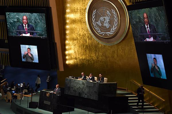 South African President Jacob Zuma at the UNGA on 27 September 2015 [Xinhua]
