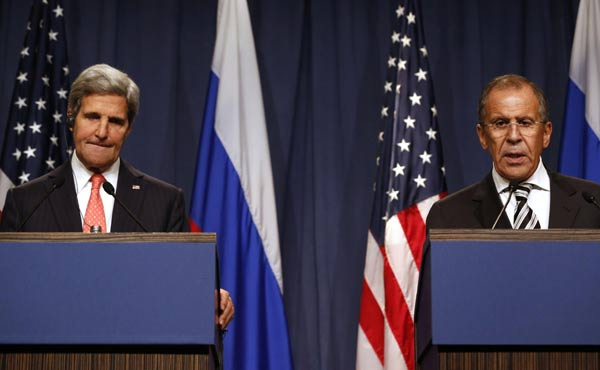 File photo of US Secretary of State John Kerry with Russian Foreign Minister Sergey Lavrov [Xinhua]