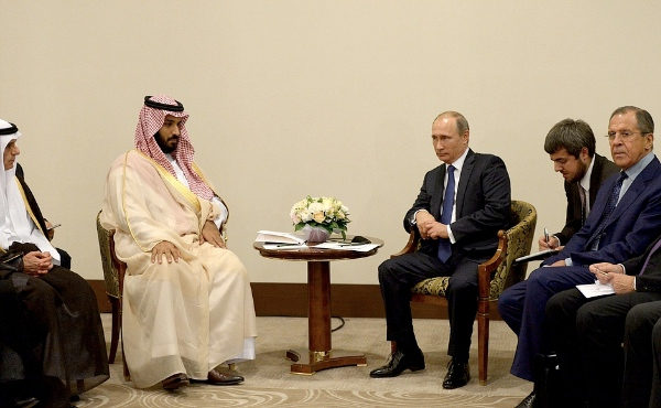 Putin Meeting with Deputy Crown Prince, Second Deputy Prime Minister, Defence Minister of Saudi Arabia Mohammad bin Salman Al Saud in Sochi, Russia on 11 October 2015. Russian and Saudi officials have been meeting a number of times to discuss the oil glut and other regional issues [PPIO]
