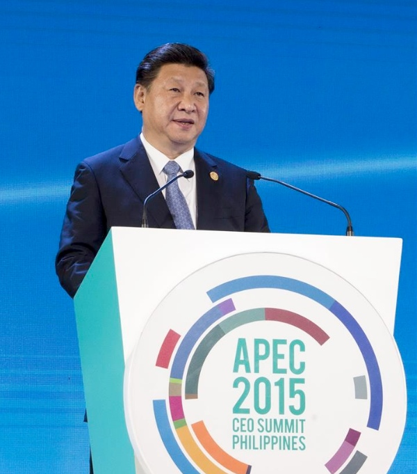 Chinese President Xi Jinping addresses the APEC CEO summit in Manila, the Philippines, Nov. 18, 2015 [Xinhua]
