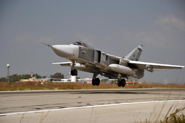 This fighter jet is one of many SU-24s deployed at an air base in Latakia, Syria [Xinhua]