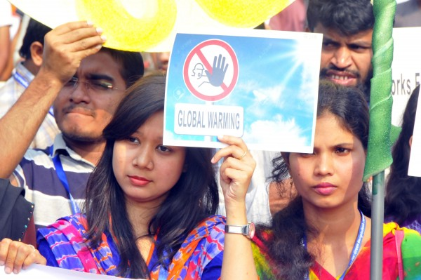 There have been global demonstrations, such as this one in Dhaka, Bangladesh, calling for industrialized nations to do more to save the planet from overheating [Xinhua]