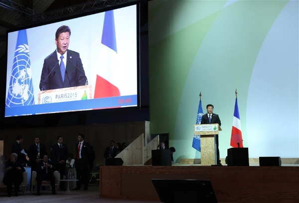 Chinese President Xi Jinping  at the opening ceremony of the United Nations (UN) climate change conference in Paris, France, Nov. 30, 2015 [Xinhua]