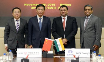 From left: Yan Jun, general manager, special financing department, Industrial and Commercial Bank of China (ICBC); Jiang Jianqing, chairman, ICBC; Group Chairman Cyrus P Mistry and Madhu Kannan, member, Group Executive Council, Tata Sons [Image: Tata Group]