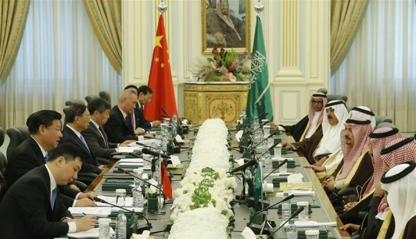 Chinese President Xi Jinping (2nd L) holds talks with Saudi King Salman bin Abdulaziz Al Saud (3rd R) in Riyadh, Saudi Arabia, Jan. 19, 2016 [Xinhua]