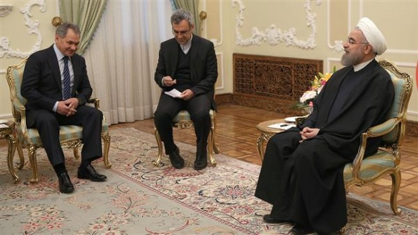 Russia's Defence Minister Sergei Shoigu with Iranian President Hassan Rouhani [Image: Press TV]