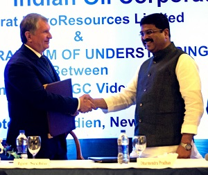 Indian Minister of petroleum and natural gas Dharmendra Pradhan with Rosneft CEO Igor Sechin [Image: Rosneft]