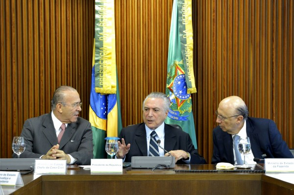 Temer, center, and Meirelles say their goal is to lower public spending and the primary deficit [Xinhua]