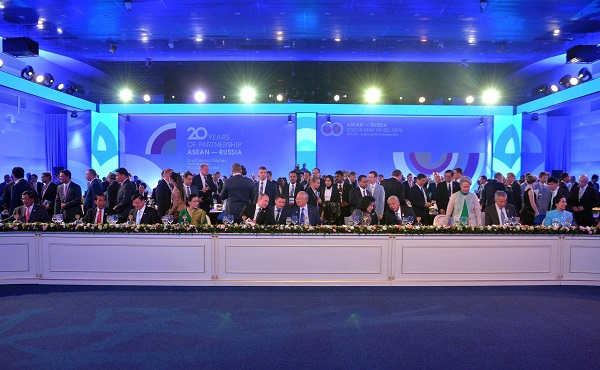 Reception in honour of heads of delegations taking part in Russia-ASEAN summit in Sochi, Russia on 19 May 2016 [Image: PPIO]