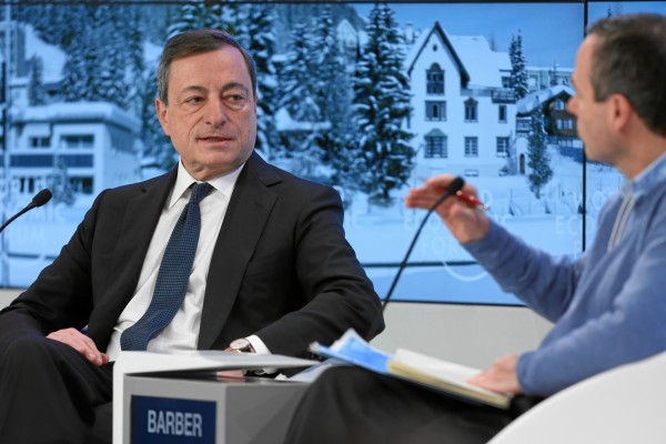 ECB chief Mario Draghi, seen here at the World Economic Forum in Davos earlier in the year, says the stimulus package is the best way to spur growth and manufacturing [Xinhua]